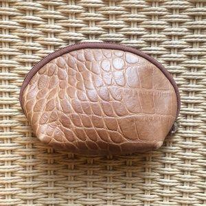 Furla Tan Croc Leather Makeup Bag Pouch Clutch